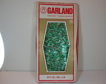 Vintage Christmas Garland Green And Silver