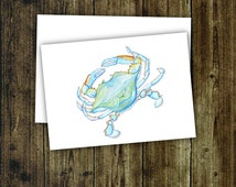 NAUTICAL, Anytime Card, MARYLAND Blue Crab, Cheasapeake Bay, One 5x7 Card and Envelope
