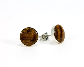 Wooden Post Earrings - Wood Stud Earrings - Figured Hawaiian Koa Silver Post Earrings - 10 mm, 8 mm, 6 mm, 5th Anniversary Gift - Mom, Dad