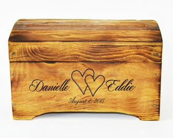 Small Personalized wedding Card Box in Rustic Finish- Personalized card box