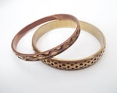 Brass Bangles / Cut Out Bracelet  / Copper Wave Bracelet / Vintage Bangle Bracelet