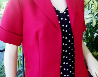 Vintage 70s Red Double Knit Short Jacket - Vintage Bolero - Short Sleeve with Cuffs - Small Medium Vintage Red Jacket Vintage Crop