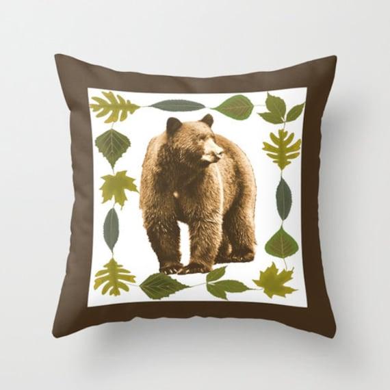 Bear Throw Pillow Covers : Black Bear Pillow Cover Throw Pillow Rustic Home Decor