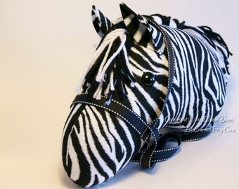 Zebra Stick Horse Head, Choice of Bridle Colors, MADE to ORDER, With or Without Stick