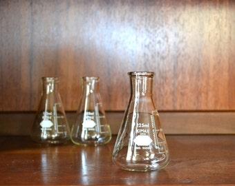 vintage scientific glass kimax flasks