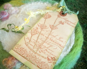 Vintage Seed Package Gift Tag, Label, Hand Dyed Paper, Hand Stamped, Book Mark