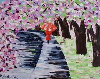 Springtime Stroll Cherry Blossoms, Original oil impressionism impasto technique, Fine Art painting by Michelle Cain