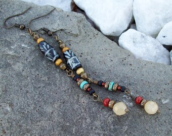Tribal Bohemian Dangle Beaded Earrings with Black Carved Bone and Calcite