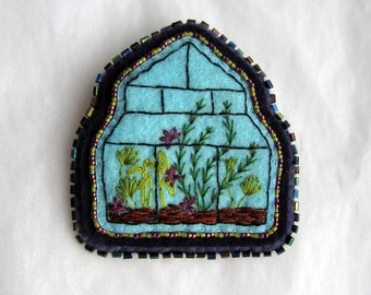Embroidered Terrarium Brooch