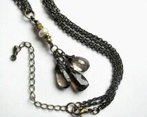 Mystic Smokey Quartz, Pearl and Smokey Quartz Multistrand Necklace
