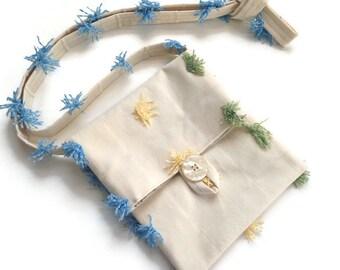 Small Shoulder Bag Cream Fabric Bag Tassel Bag Essentials Bag Passport Bag Travel Bag Shoulder Purse Fabric Purse Button Closure