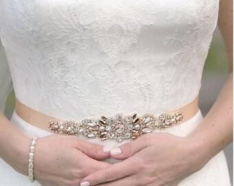 Rose Gold Crystal Bridal Belt- SWAROVSKI- Rhinestone, Sequin and Pearl Bridal Sash
