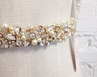 Crystal Bridal Belt- Narrow Bridal Belt- Swarovski Crystal Bridal Sash- One-of-a-Kind Hand-Beaded -Vintage Glamour