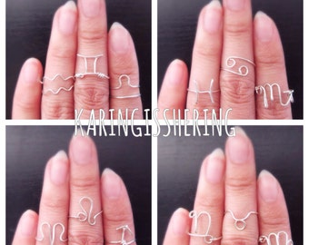 Zodiac Sign Wire Wrapped Stackable Rings in Sterling Silver or 12kt Gold Filled - Insurance included in ALL domestic shipping!