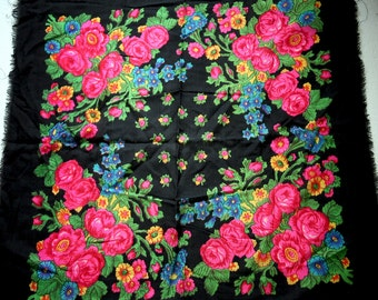 "Russian Scarf Shawl Black with Pink Roses Wool 33"" inches From Russia Soviet Union USSR"