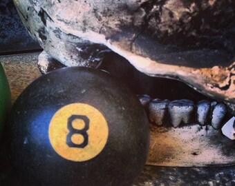 Eight Ball /  Art Deco Billiard Ball /  Clay Pool Ball