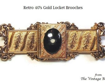 """2 Photo Compartment 3"""" Gold Locket Brooch with Onyx Cabochon & Crystal Center in Victorian Floral Motif - Vintage Retro 40's Costume Jewelry"""