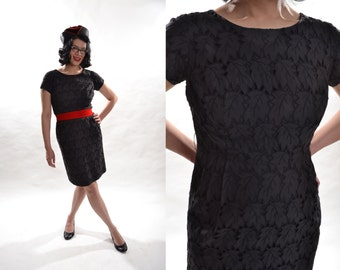 Vintage 1950s Black Eyelet Dress - Autumn Leaves - Holiday Fashions