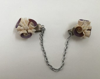 Vintage 1950s Sweater Clip Guard - Lilac Shell - 1960s Mad Men Fashions