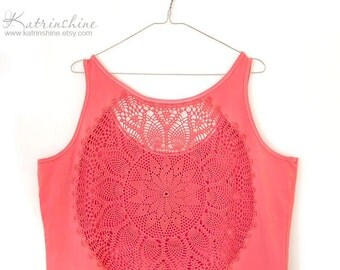 Coral pink Tank Top with upcycled vintage crochet back - size XXXL