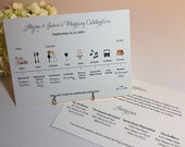The Big Day 'Wedding Celebration' Timeline Card for Wedding Party or Guests PRINTABLE DIGITAL or PRINTED