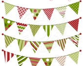 Traditional Christmas Bunting Cute Digital Clipart for Invitations, Card Design, Scrapbooking, and Web Design, Garland Bunting Clipart