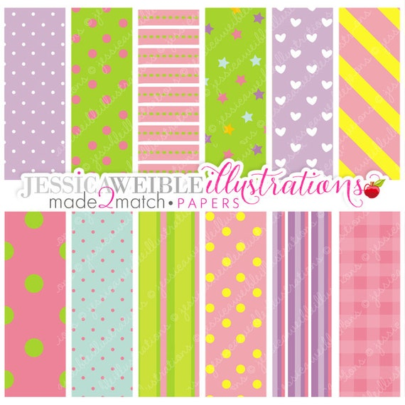 Birthday Girl Cute Digital Papers for Card Design, Scrapbooking, and Web Design