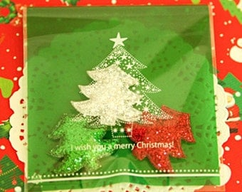 30 Merry Christmas Self Sealing Cellophane Bags - Green Tree (3.8 x 4.3in)