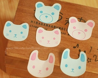 24 Rabbit / Cat / Bear Face Stickers - Blue & Pink (1 x 1in)