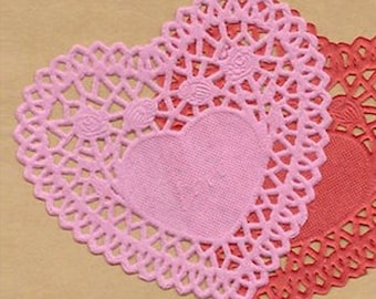 50 Rose Heart Paper Doilies - Pink (4.1 x 4in)