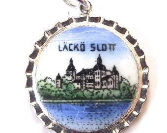 Lacko Slott Castle Souvenir Charm, Vintage Illustrated Necklace Charm
