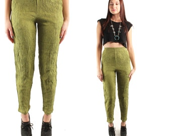 IRIS 80s Gorgeous Sleek Chic Glam Pea Green Crinkled Gauzy New Age High Waisted Tapered Pants Trousers Capris Boho Grunge Extra Small S