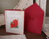 Vintage Christmas card poinsettias red and white Christmas card pieces