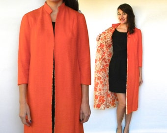 50s Orange Linen Coat | Long Spring Coat with Print Lining, Small