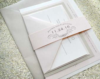1943 Vintage Wedding Invitation Suite with Belly Band - Pale Pink, Beige, Taupe and Ivory - Colors are customizable
