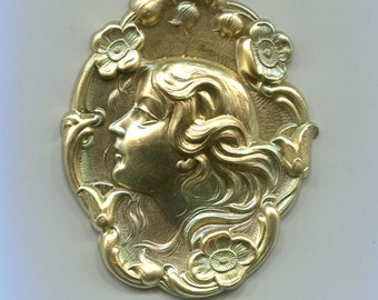 Large Art Nouveau Maiden Face Brass Metal Stamping