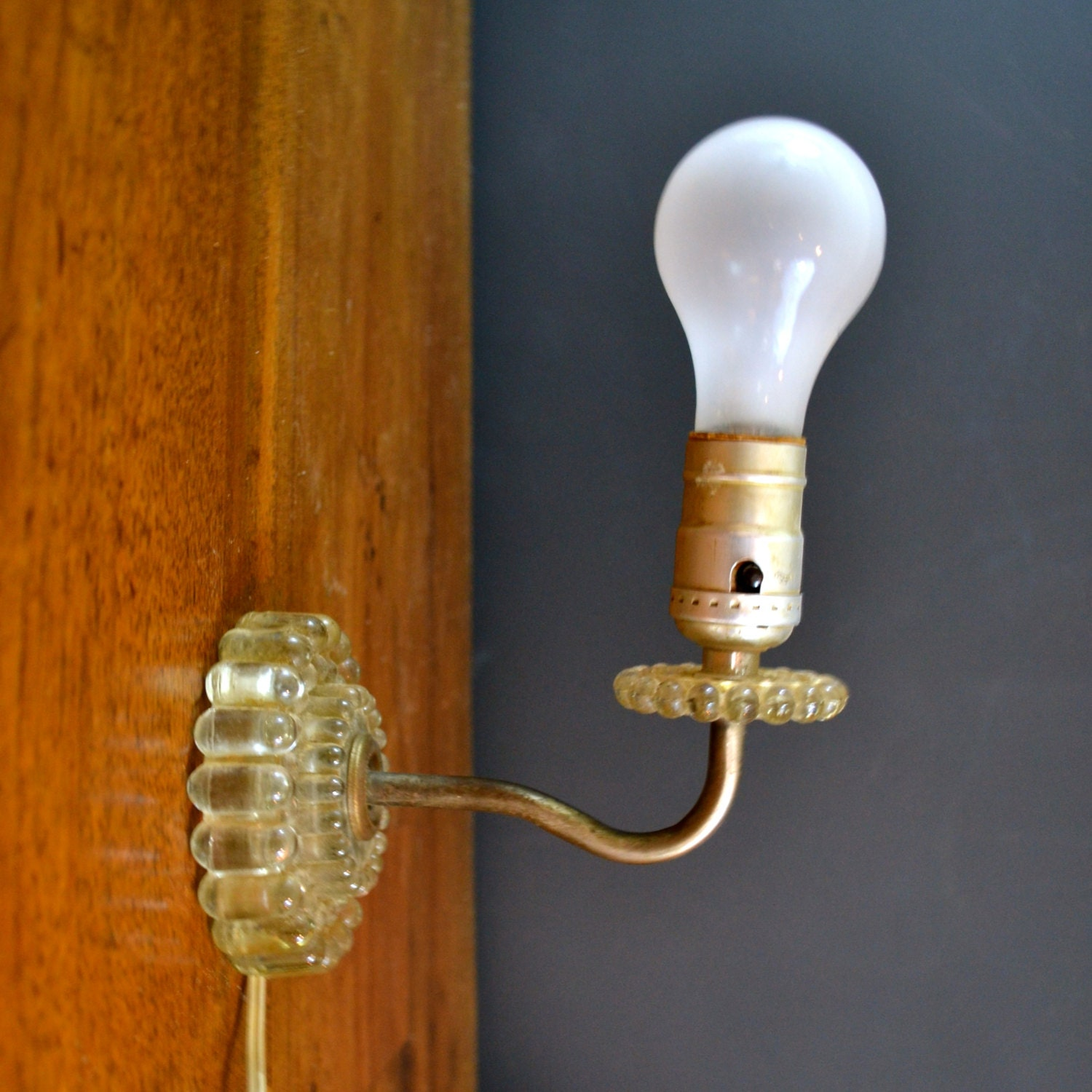 Vintage Glass Wall Sconces : Vintage Electric Wall Sconce Mid Century Bubble Lamp Glass