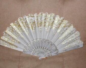 Vintage White & Gold Folding Fan