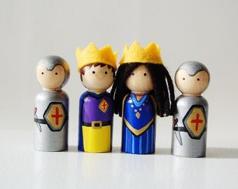 The Royal King, Queen and Knights Wooden Dolls - Peg Doll - Unique Gift- Stocking Stuffer - Zooble Toy