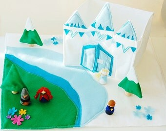 The Ice Castle Felt Play Set - Includes Everything You See - Doll House - Felt Toy - Unique Gift - Zooble Toy