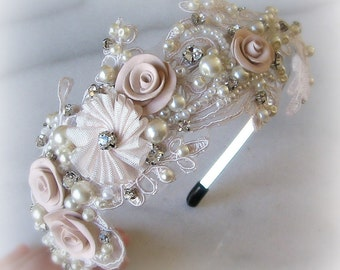Lace Headband with Rhinestones and Pearls, Bridal Headband, Crystal Head Piece, Ivory, Blush, Champagne, White - ELISABETA