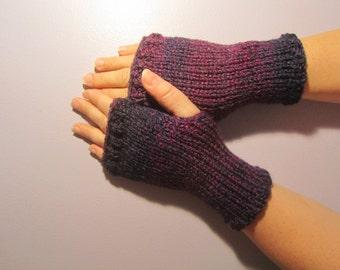Fingerless Gloves - Navy Blue & Purple Mix Hand Knit Fingerless Gloves