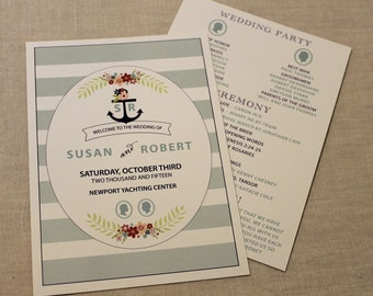 Nautical Floral Wedding Programs 5x7 Double Sided
