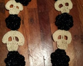 RESERVED Cream and Black Skull and Roses Scarf