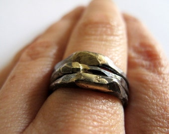 Sterling silver stackable rings with oxidization and 14k gold solder