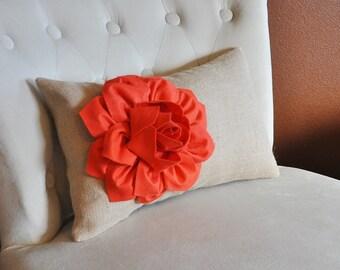 Decorative Lumbar Pillow Coral Dahlia on Burlap Lumbar Pillow 9 x 16 Rustic Home Decor Oblong Pillow