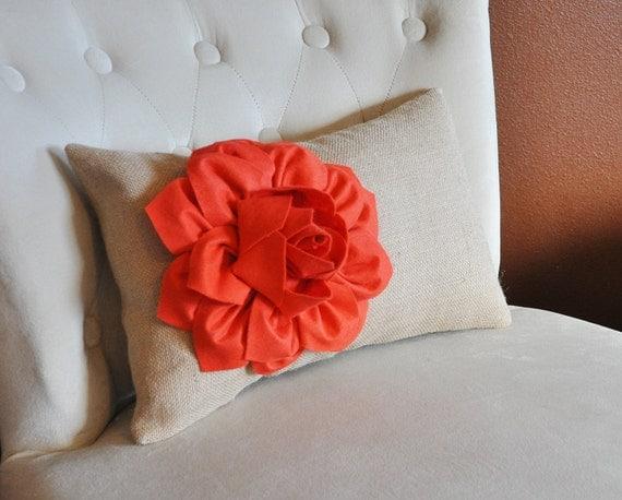 Decorative Lumbar Pillow Coral Dahlia on Burlap Lumbar Pillow