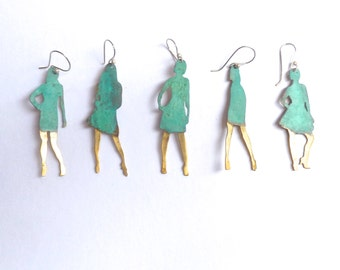 Single earring of woman's silhouette by CARLOS TELLECHEA