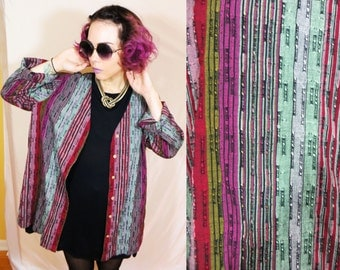90's multicolored light jacket cardigan m/l