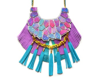Turquoise Leather Statement Necklace, Neon Woven Chain, Pastel Nebula Hexagon Fringe Necklace, Space Necklace, Purple Geometric Jewelry